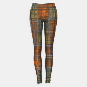 Thumbnail image of geometric square pattern abstract in orange brown green yellow Leggings, Live Heroes