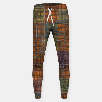 Thumbnail image of geometric square pattern abstract in orange brown green yellow Sweatpants, Live Heroes