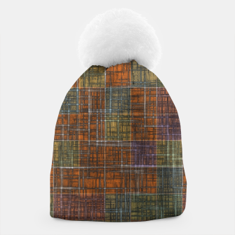 Thumbnail image of geometric square pattern abstract in orange brown green yellow Beanie, Live Heroes
