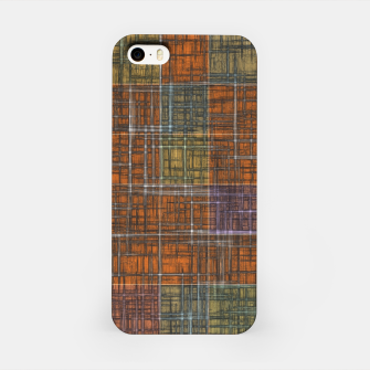 Thumbnail image of geometric square pattern abstract in orange brown green yellow iPhone Case, Live Heroes