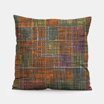 Thumbnail image of geometric square pattern abstract in orange brown green yellow Pillow, Live Heroes