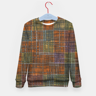 Thumbnail image of geometric square pattern abstract in orange brown green yellow Kid's sweater, Live Heroes