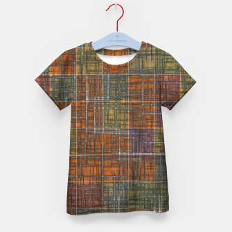 Thumbnail image of geometric square pattern abstract in orange brown green yellow Kid's t-shirt, Live Heroes