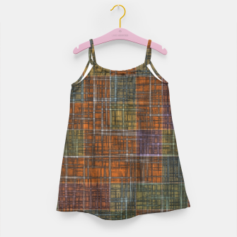 Thumbnail image of geometric square pattern abstract in orange brown green yellow Girl's dress, Live Heroes