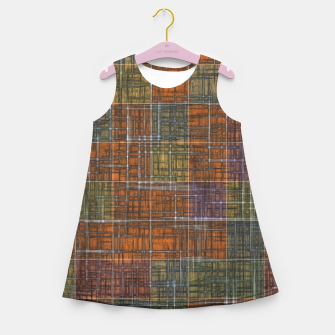 Thumbnail image of geometric square pattern abstract in orange brown green yellow Girl's summer dress, Live Heroes