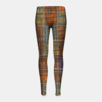Thumbnail image of geometric square pattern abstract in orange brown green yellow Girl's leggings, Live Heroes