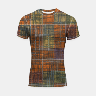 Thumbnail image of geometric square pattern abstract in orange brown green yellow Shortsleeve rashguard, Live Heroes
