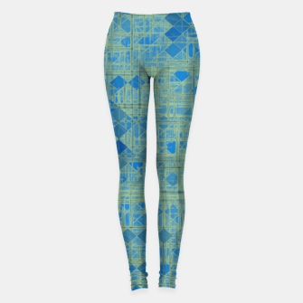 Miniatur geometric square pixel pattern abstract in blue Leggings, Live Heroes