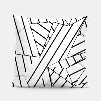 Thumbnail image of geometric line abstract pattern abstract background in black and white Pillow, Live Heroes