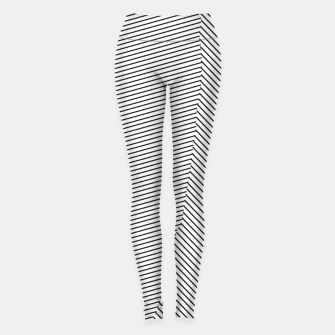 Miniatur geometric line pattern abstract background in black and white Leggings, Live Heroes