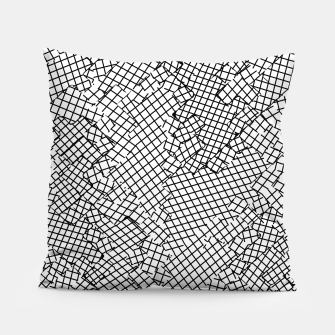 Thumbnail image of geometric square shape pattern abstract background in black and white Pillow, Live Heroes
