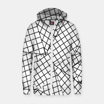 Thumbnail image of geometric square pattern abstract background in black and white Zip up hoodie, Live Heroes