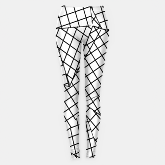 Thumbnail image of geometric square pattern abstract background in black and white Leggings, Live Heroes