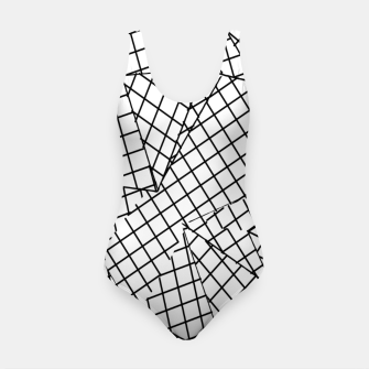 Thumbnail image of geometric square pattern abstract background in black and white Swimsuit, Live Heroes