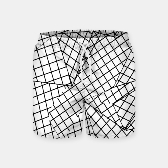 Thumbnail image of geometric square pattern abstract background in black and white Swim Shorts, Live Heroes