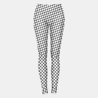 Miniatur geometric square line pattern abstract background in black and white Leggings, Live Heroes