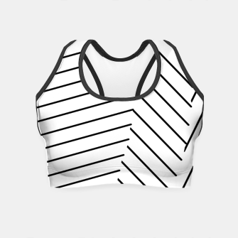 Miniatur geometric line pattern abstract background in black and white Crop Top, Live Heroes