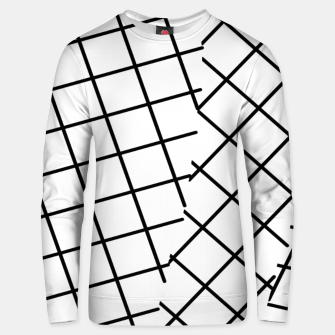 Miniatur geometric square line pattern abstract background in black and white Unisex sweater, Live Heroes