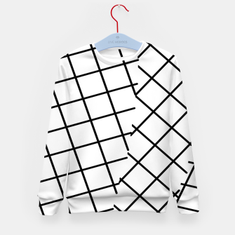 Thumbnail image of geometric square line pattern abstract background in black and white Kid's sweater, Live Heroes