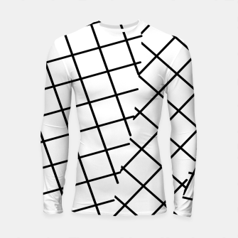 Thumbnail image of geometric square line pattern abstract background in black and white Longsleeve rashguard , Live Heroes