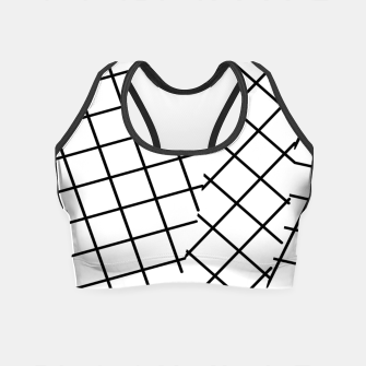 Miniatur geometric square line pattern abstract background in black and white Crop Top, Live Heroes