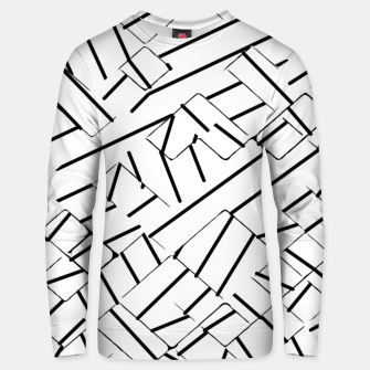 Miniatur geometric line abstract pattern abstract in black and white Unisex sweater, Live Heroes