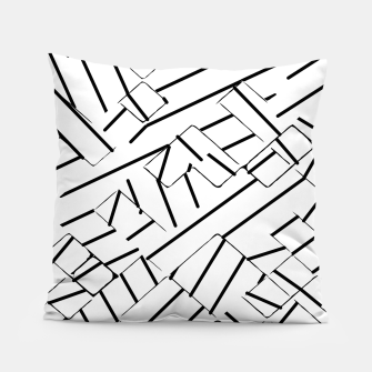 Thumbnail image of geometric line abstract pattern abstract in black and white Pillow, Live Heroes