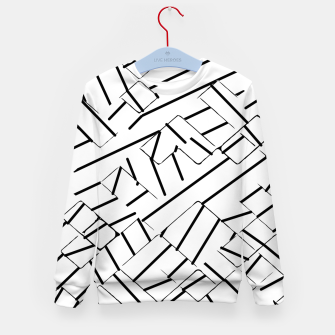 Thumbnail image of geometric line abstract pattern abstract in black and white Kid's sweater, Live Heroes