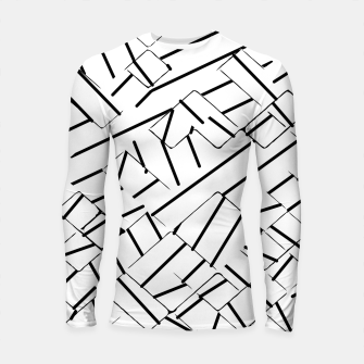 Thumbnail image of geometric line abstract pattern abstract in black and white Longsleeve rashguard , Live Heroes