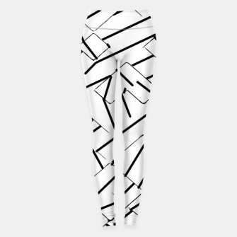 Miniatur geometric line abstract pattern abstract in black and white Leggings, Live Heroes