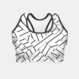 Miniatur geometric line abstract pattern abstract in black and white Crop Top, Live Heroes
