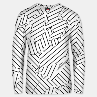 Miniatur geometric line abstract pattern abstract background in black and white Unisex sweater, Live Heroes