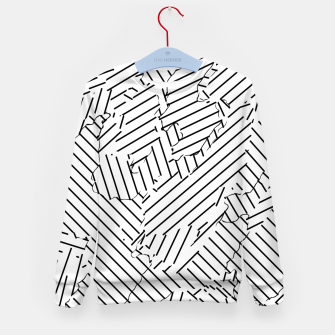 Thumbnail image of geometric line abstract pattern abstract background in black and white Kid's sweater, Live Heroes