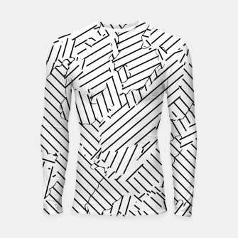 Thumbnail image of geometric line abstract pattern abstract background in black and white Longsleeve rashguard , Live Heroes