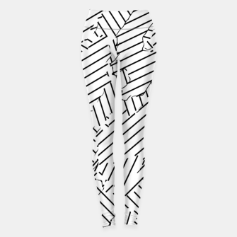 Miniatur geometric line abstract pattern abstract background in black and white Leggings, Live Heroes