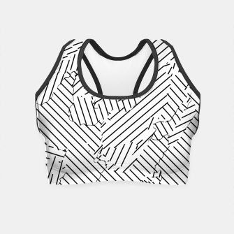 Miniatur geometric line abstract pattern abstract background in black and white Crop Top, Live Heroes
