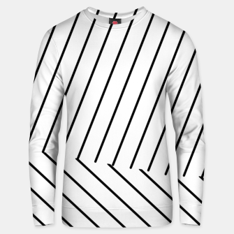 Miniatur geometric line abstract pattern background in black and white Unisex sweater, Live Heroes
