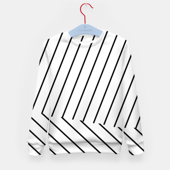 Thumbnail image of geometric line abstract pattern background in black and white Kid's sweater, Live Heroes