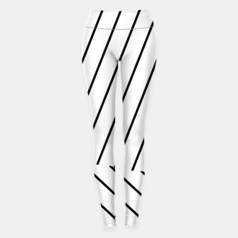 Miniatur geometric line abstract pattern background in black and white Leggings, Live Heroes