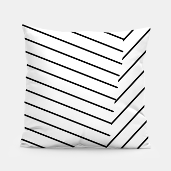 Thumbnail image of geometric line abstract pattern background in black and white Pillow, Live Heroes