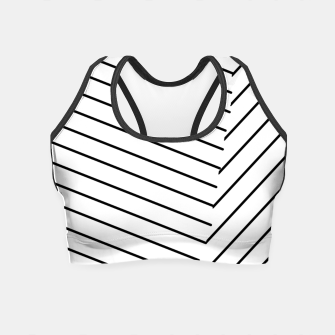Miniatur geometric line abstract pattern background in black and white Crop Top, Live Heroes