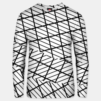 Miniatur geometric square shape line pattern abstract background in black and white Unisex sweater, Live Heroes