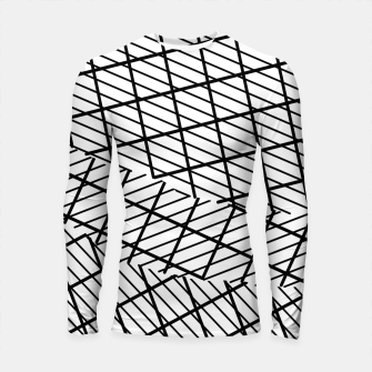 Thumbnail image of geometric square shape line pattern abstract background in black and white Longsleeve rashguard , Live Heroes