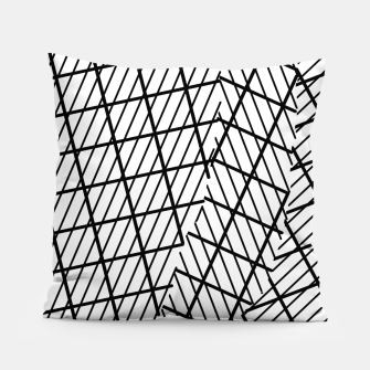 Thumbnail image of geometric square shape line pattern abstract background in black and white Pillow, Live Heroes