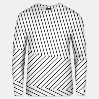 Miniatur geometric line pattern abstract background in black and white Unisex sweater, Live Heroes