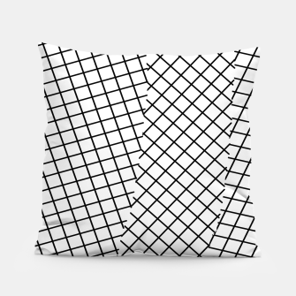 Thumbnail image of geometric square line pattern abstract background in black and white Pillow, Live Heroes