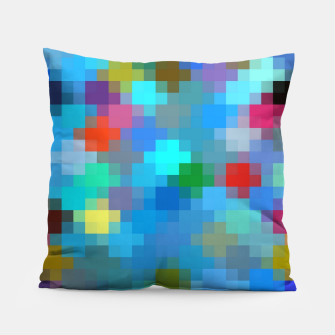 Thumbnail image of geometric square pixel pattern abstract in blue pink red Pillow, Live Heroes