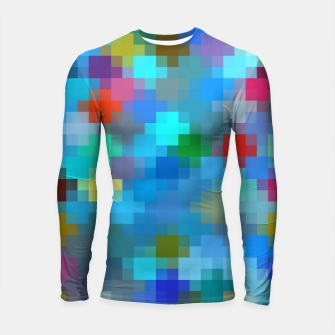 Thumbnail image of geometric square pixel pattern abstract in blue pink red Longsleeve rashguard , Live Heroes