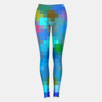Miniatur geometric square pixel pattern abstract in blue pink red Leggings, Live Heroes