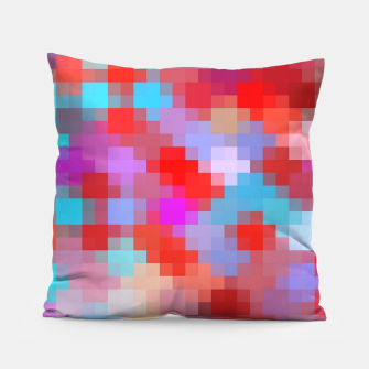 Thumbnail image of geometric square pixel pattern abstract in pink red blue Pillow, Live Heroes